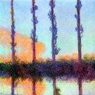 Poplars II water landscape canvas art print by Claude Monet