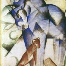 Horse and Dog equestrian domestic animal farm woods forests landscape canvas art print by Franz Marc