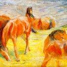 Grazing Horses I 1910 equestrian domestic animals farm landscape canvas art print by Franz Marc