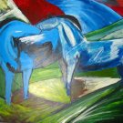 Hold but Seemed to me the Whole Pale horses equestrian farm landscape canvas art print by Franz Marc