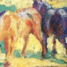 Horses 1909 equestrian domestic animal farm woods forests landscape canvas art print by Franz Marc