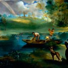Fishing ca 1863 water landscape people canvas art print by Edouard Manet