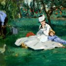 The Monet Family in their Garden at Argenteuil 1874 woman child canvas art print by Edouard Manet