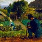 Garden Scene 1854 landscape canvas art print by Jean-Francois Millet