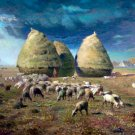 Haystacks Autumn ca 1874 sheeps landscape canvas art print by Jean-Francois Millet