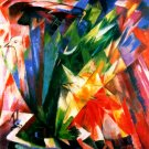 Fowls 1914 vogel birds wild animals woods forests landscape canvas art print by Franz Marc