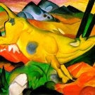 The Yellow Cow 1911 domestic animal farm woods forests landscape canvas art print by Franz Marc