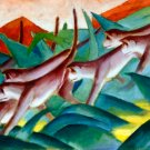 Affenfries 1911 monkeys wild animal woods forests landscape canvas art print by Franz Marc