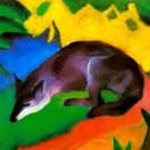 Blue Black Fox 1911 wild animal woods forests landscape canvas art print by Franz Marc