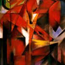 Foxes 1913 wild animals woods forests landscape canvas art print by Franz Marc
