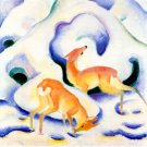 Deer in the Snow 1911 wild animal woods forests landscape canvas art print by Franz Marc