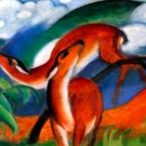 Red Deer II 1912 wild animal woods forests landscape canvas art print by Franz Marc