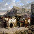The Quarry 1858 landscape horses equestrian canvas art print by John F. Herring Sr