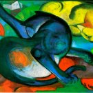 Two cats, blue and yellow 1912 animal canvas art print by Franz Marc