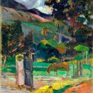 Tahitian Landscape 1892 horse canvas art print by Paul Gauguin