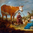 Children and a Cow 1639 domestic animal landscape canvas art print by Aelbert Cuyp