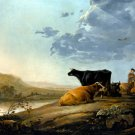 Young Herdsmen with Cows ca 1660 domestic animal landscape canvas art print by Aelbert Cuyp