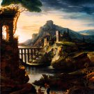Evening Landscape with Aqueduct 1818 canvas art print by Theodore Gericault