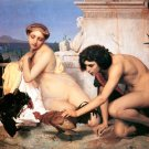 Gerome y Young Greeks Ata Cockfight woman man canvas art print by Jean Leon Gerome