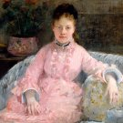 The Pink Dress 1876 woman portrait canvas art print by Berthe Morisot