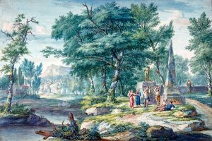 Arcadian Landscape with Figures Making Music water river canvas art print by Jan van Huysum