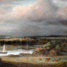 Wide River Landscape ca 1649 water canvas art print by Philips Koninck