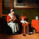 The Lacemaker ca 1657 woman genre canvas art print by Nicolaes Maes