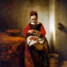 Young Woman Peeling Apples ca 1655 woman genre canvas art print by Nicolaes Maes