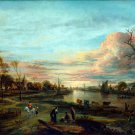 Landscape at Sunset 1650s canvas art print by Aert van der Neer