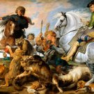 Wolf and Fox Hunt animals horses dogs canvas art print by Rubens