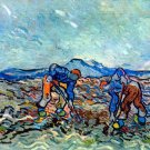 Farmers at Work Bauern bei der Arbeit 1890 landscape farm canvas art print by Vincent van Gogh