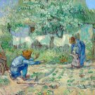 First Steps after Millet 1890 farm landscape trees canvas art print by Vincent van Gogh