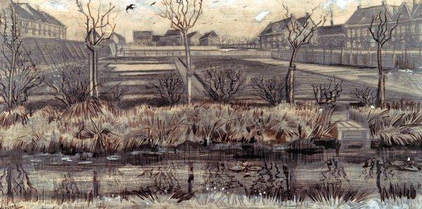 Nursery on Schenkweg 1882 school children river water cityscape canvas art print by Vincent van Gogh