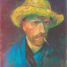 Self-Portrait with straw Hat and Pipe 1887 canvas art print by Vincent van Gogh