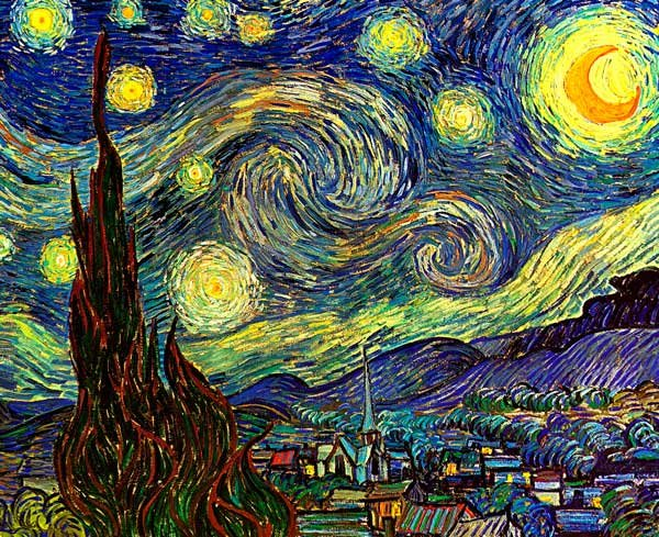 Starry Night 1889 water river cityscape canvas art print by Vincent van Gogh