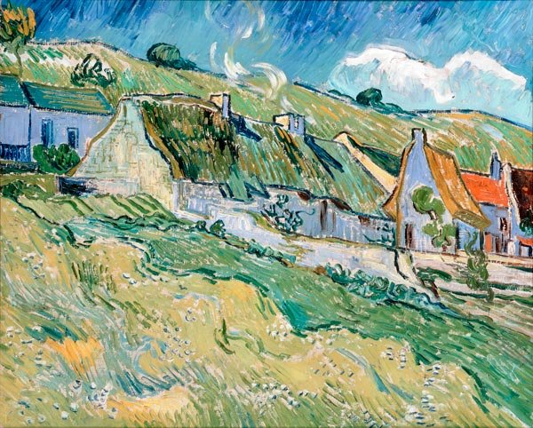 Thatched Cottages 1890 landscape country houses canvas art print by Vincent van Gogh