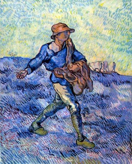 The Sower Der Samann peasant farm landscape canvas art print by Vincent van Gogh