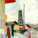 Cathedral in Freiburg in Switzerland cityscape woman man canvas art print by Franz Marc