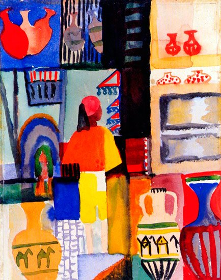 Dealer with Jugs woman canvas art print by Franz Marc