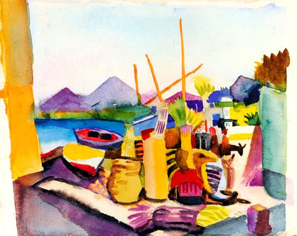 Landscape at Hammamet water river canvas art print by Franz Marc