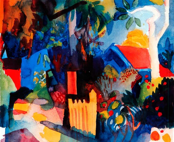 Landscape with Bright Tree canvas art print by Franz Marc