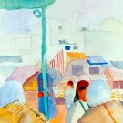 Market in Tunis cityscape people canvas art print by Franz Marc