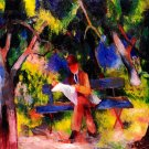 Reading Man in the Park landscape canvas art print by Franz Marc