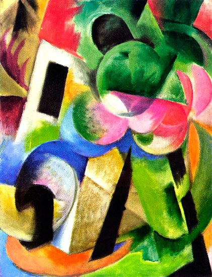 Small Composition II House with Trees landscape canvas art print by Franz Marc