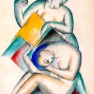 Two Woman in a activity canvas art print by Franz Marc