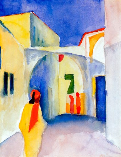 View into a Lane in Tunis cityscape canvas art print by Franz Marc