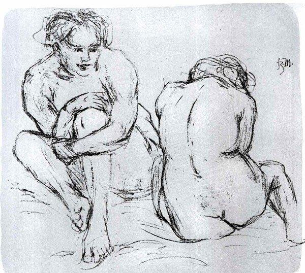Two women canvas art print by Franz Marc