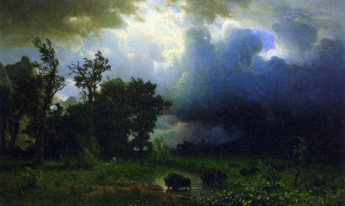 Before the Storm American West landscape buffalos canvas art print by Albert Bierstadt