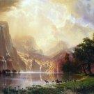 Between the Sierra Nevada Mountains American West landscape canvas art print by Albert Bierstadt