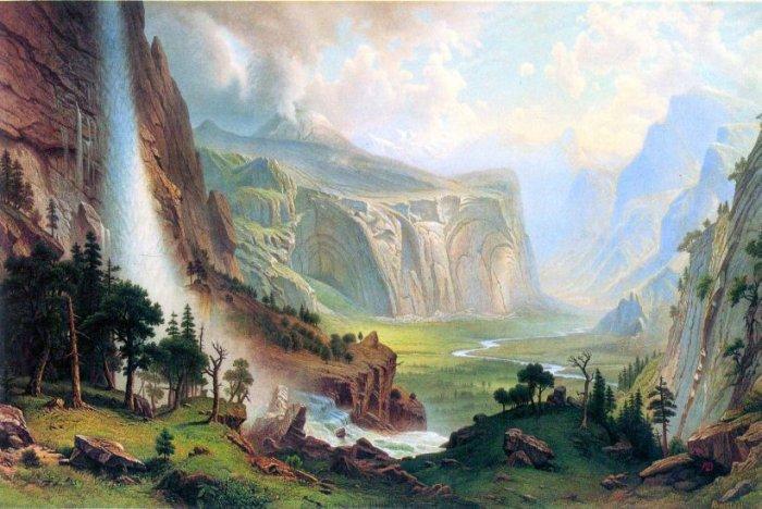 Half Dome in Yosemite American West landscape canvas art print by Albert Bierstadt